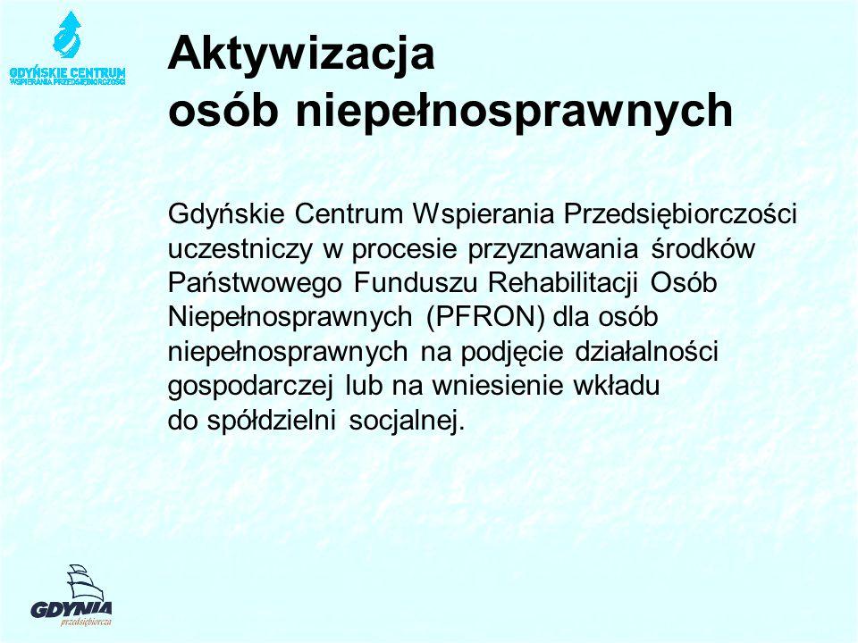 Aktywizacja osób niepełnosprawnych Gdyńskie Centrum Wspierania Przedsiębiorczości uczestniczy w procesie przyznawania środków Państwowego Funduszu Rehabilitacji Osób Niepełnosprawnych (PFRON) dla osób niepełnosprawnych na podjęcie działalności gospodarczej lub na wniesienie wkładu do spółdzielni socjalnej.