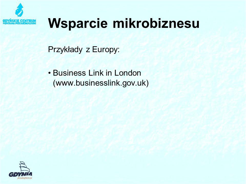 Wsparcie mikrobiznesu Przykłady z Europy: Business Link in London (www.businesslink.gov.uk)