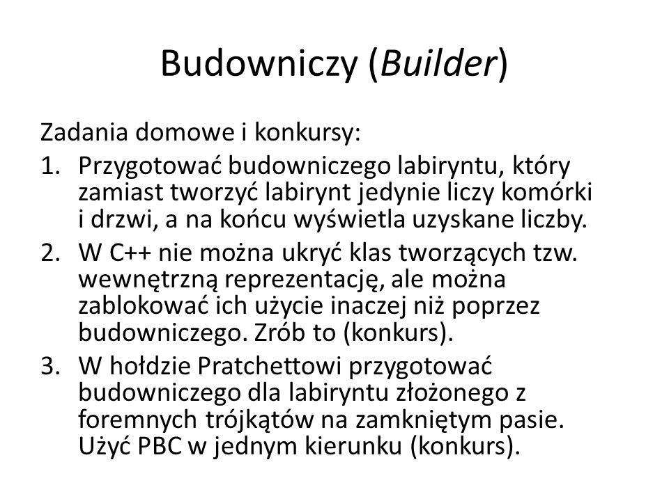 Budowniczy (Builder) Zadania domowe i konkursy: 1.Przygotować budowniczego labiryntu, który zamiast tworzyć labirynt jedynie liczy komórki i drzwi, a
