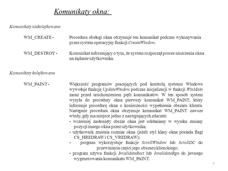 Komunikaty okna: WM_CREATE -Procedura obsługi okna otrzymuje ten komunikat podczas wykonywania przez system operacyjny funkcji CreateWindow. WM_PAINT