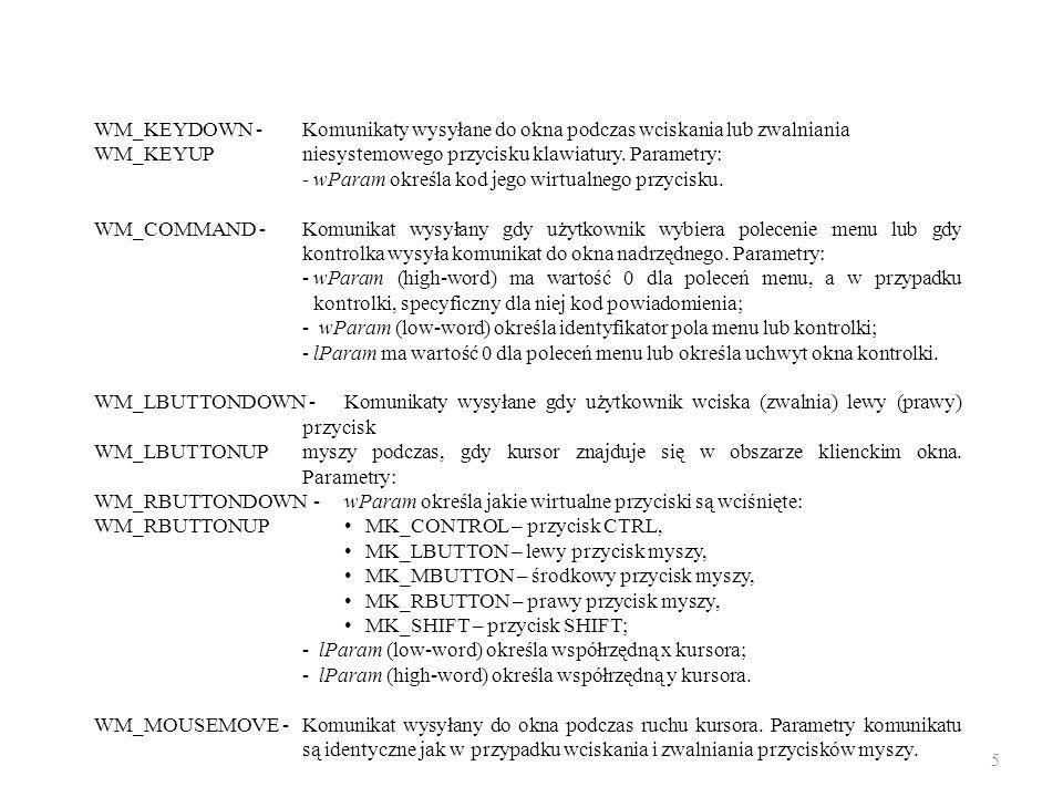 WM_KEYDOWN -Komunikaty wysyłane do okna podczas wciskania lub zwalniania WM_KEYUPniesystemowego przycisku klawiatury. Parametry: -wParam określa kod j