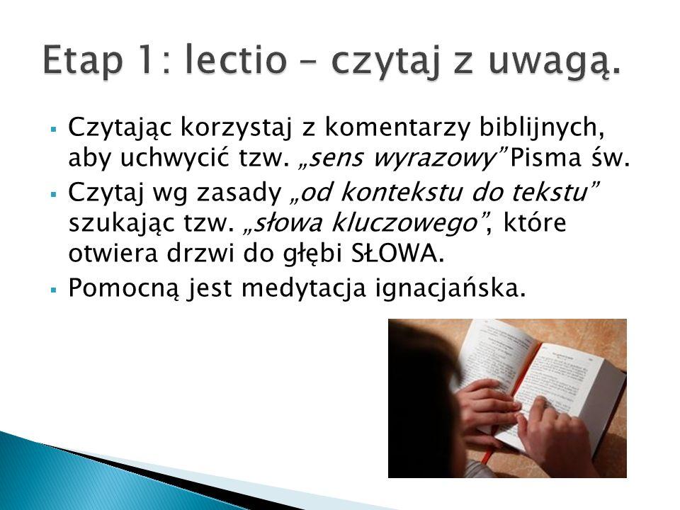""" Czytając korzystaj z komentarzy biblijnych, aby uchwycić tzw. """"sens wyrazowy"""" Pisma św.  Czytaj wg zasady """"od kontekstu do tekstu"""" szukając tzw. """"s"""