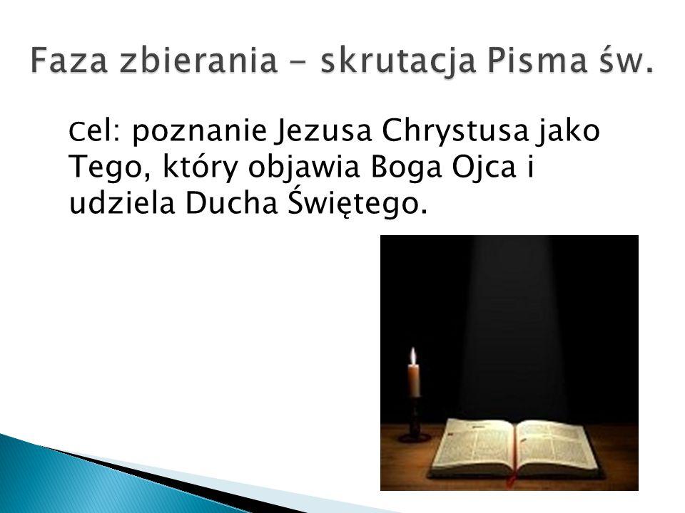C el: poznanie Jezusa Chrystusa jako Tego, który objawia Boga Ojca i udziela Ducha Świętego.