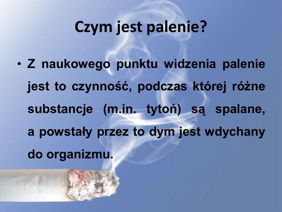 Czym jest palenie? Z naukowego punktu widzenia palenie jest to czynność, podczas której różne substancje (m.in. tytoń) są spalane, a powstały przez to