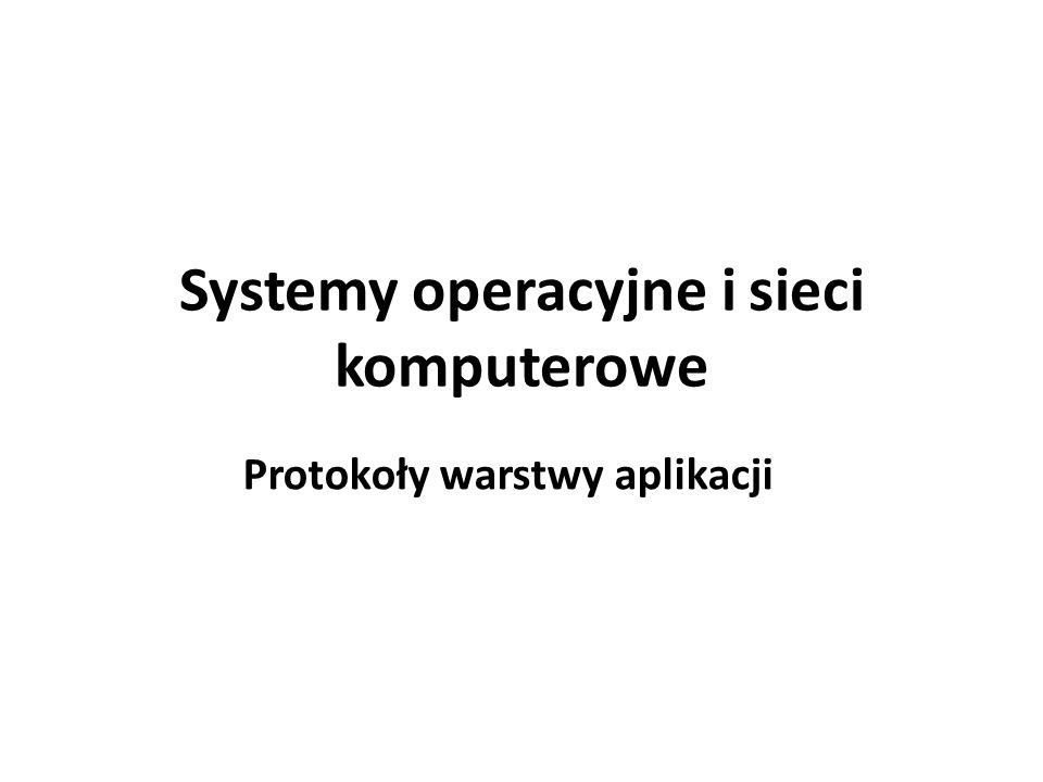Systemy operacyjne i sieci komputerowe Protokoły warstwy aplikacji