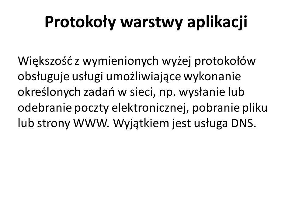 Protokoły warstwy aplikacji Większość z wymienionych wyżej protokołów obsługuje usługi umożliwiające wykonanie określonych zadań w sieci, np. wysłanie