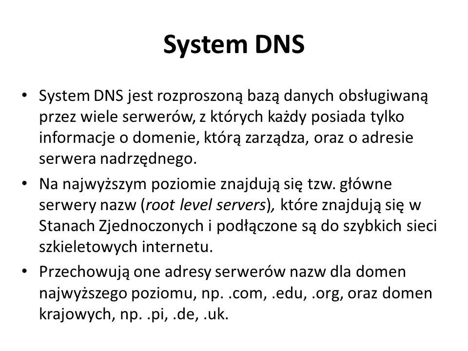 System DNS jest rozproszoną bazą danych obsługiwaną przez wiele serwerów, z których każdy posiada tylko informacje o domenie, którą zarządza, oraz o a