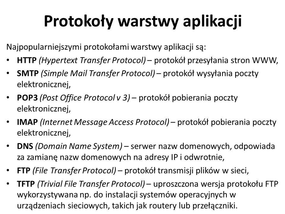 Protokoły warstwy aplikacji Najpopularniejszymi protokołami warstwy aplikacji są: HTTP (Hypertext Transfer Protocol) – protokół przesyłania stron WWW,
