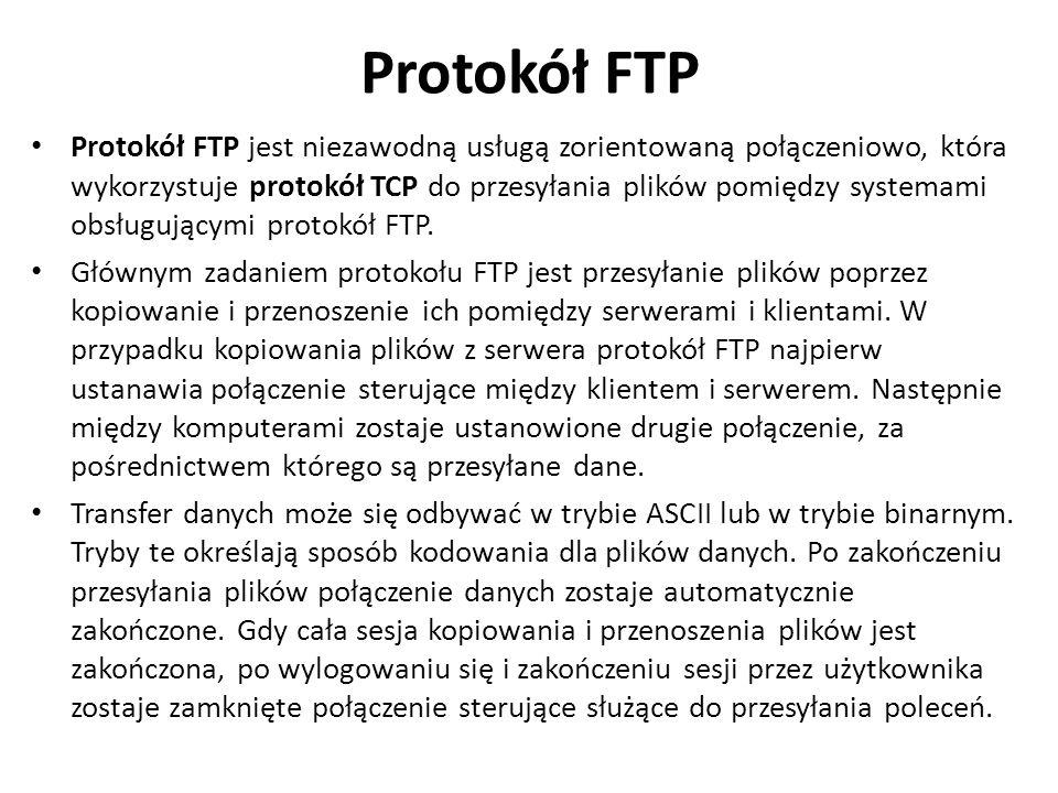 Protokół FTP Protokół FTP jest niezawodną usługą zorientowaną połączeniowo, która wykorzystuje protokół TCP do przesyłania plików pomiędzy systemami o