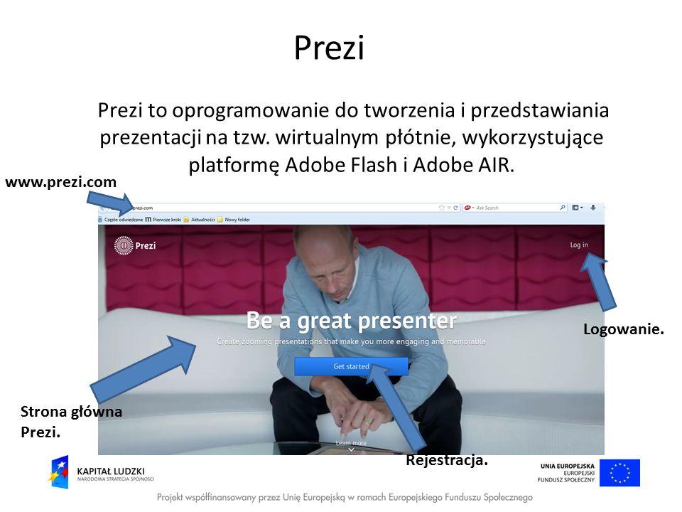 Prezi Prezi to oprogramowanie do tworzenia i przedstawiania prezentacji na tzw. wirtualnym płótnie, wykorzystujące platformę Adobe Flash i Adobe AIR.