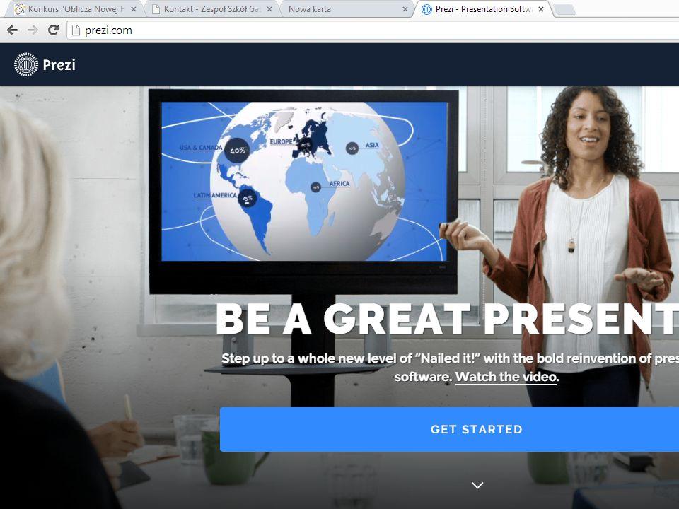 Prezi Po zalogowaniu /zarejestrowaniu się na stronie www.prezi.com wyświetlają się nam dotychczas zrobione przez nas prezentacje.www.prezi.com Aby rozpocząć tworzenie nowej prezentacji klikamy 'New Prezi'.