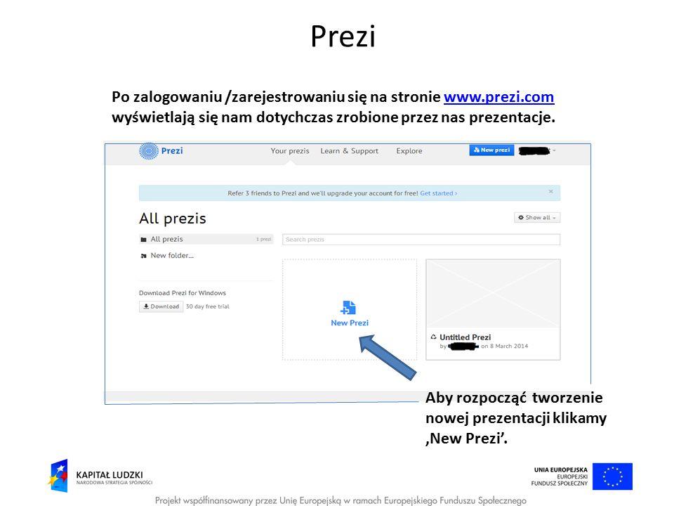 Prezi Po zalogowaniu /zarejestrowaniu się na stronie www.prezi.com wyświetlają się nam dotychczas zrobione przez nas prezentacje.www.prezi.com Aby roz