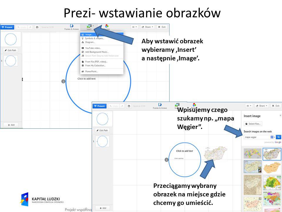 """Prezi- wstawianie obrazków Aby wstawić obrazek wybieramy 'Insert' a następnie 'Image'. Wpisujemy czego szukamy np. """"mapa Węgier"""". Przeciągamy wybrany"""