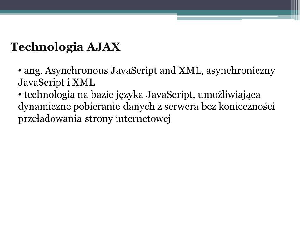 Technologia AJAX ang. Asynchronous JavaScript and XML, asynchroniczny JavaScript i XML technologia na bazie języka JavaScript, umożliwiająca dynamiczn