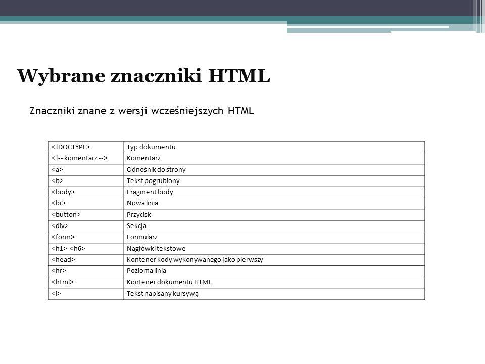 Znaczniki znane z wersji wcześniejszych HTML Typ dokumentu Komentarz Odnośnik do strony Tekst pogrubiony Fragment body Nowa linia Przycisk Sekcja Form