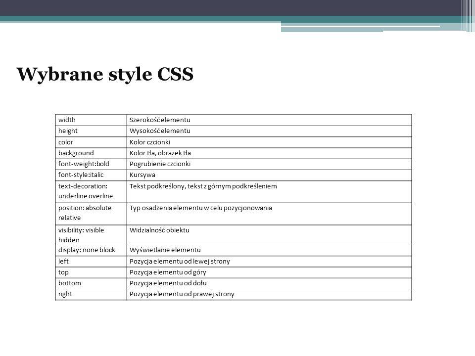 Wybrane style CSS widthSzerokość elementu heightWysokość elementu colorKolor czcionki backgroundKolor tła, obrazek tła font-weight:boldPogrubienie czc
