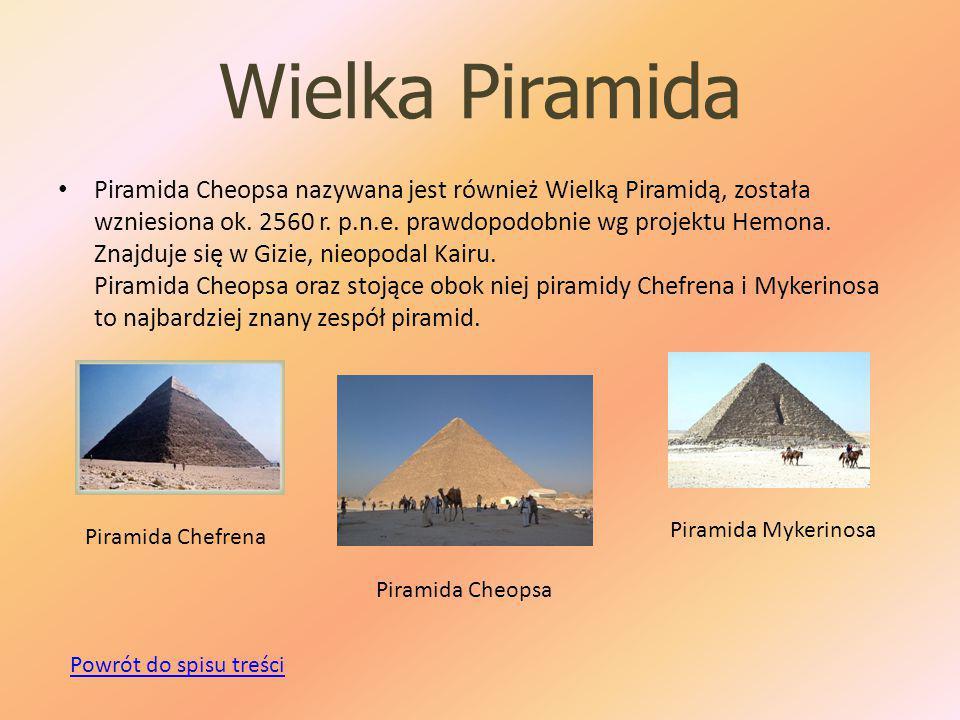 Wielka Piramida Piramida Cheopsa nazywana jest również Wielką Piramidą, została wzniesiona ok.