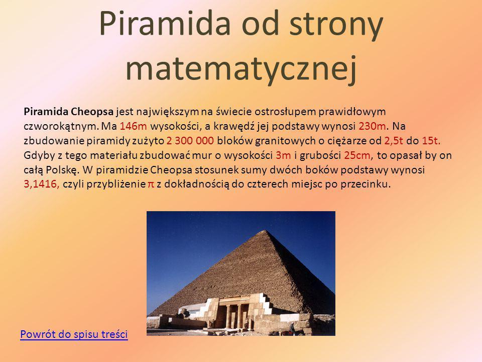 Piramida od strony matematycznej Piramida Cheopsa jest największym na świecie ostrosłupem prawidłowym czworokątnym.