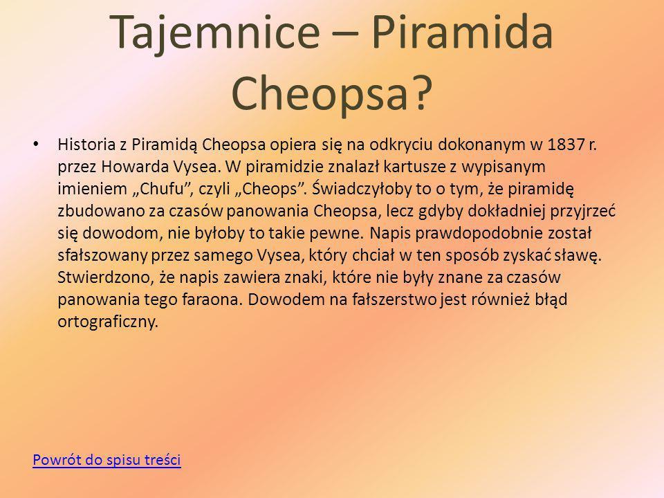 Tajemnice – Piramida Cheopsa.