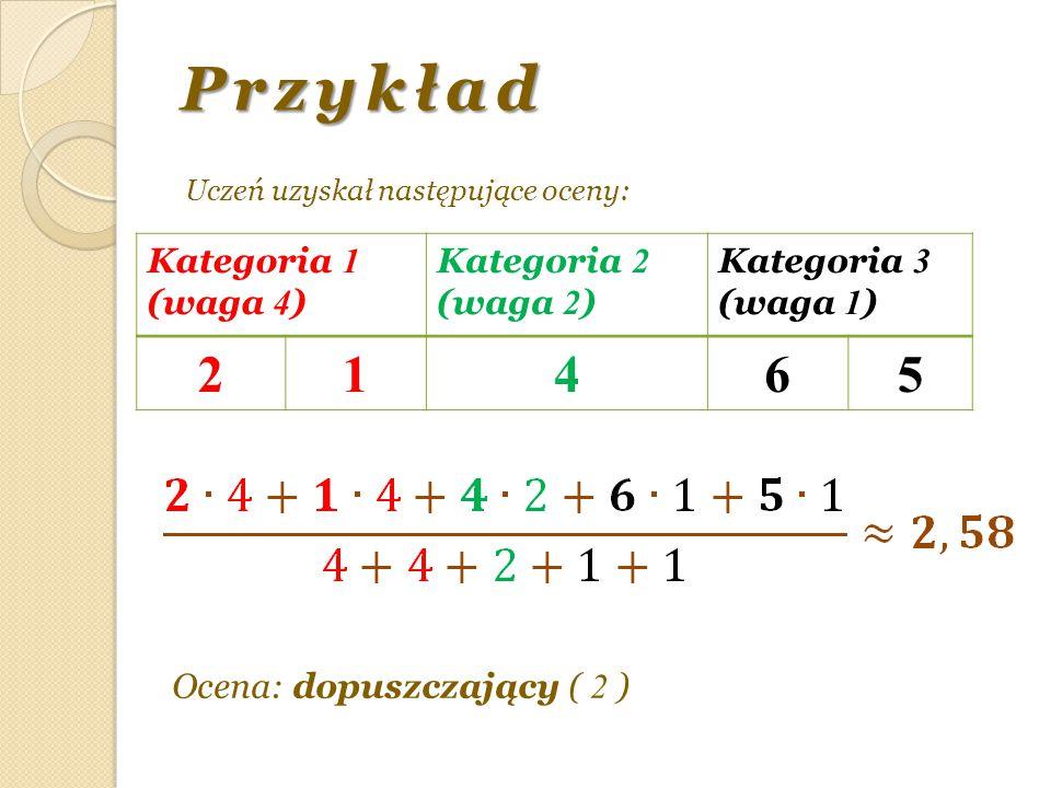 Przykład Uczeń uzyskał następujące oceny: Kategoria 1 (waga 4 ) Kategoria 2 (waga 2 ) Kategoria 3 (waga 1 ) 21465 Ocena: dopuszczający ( 2 )