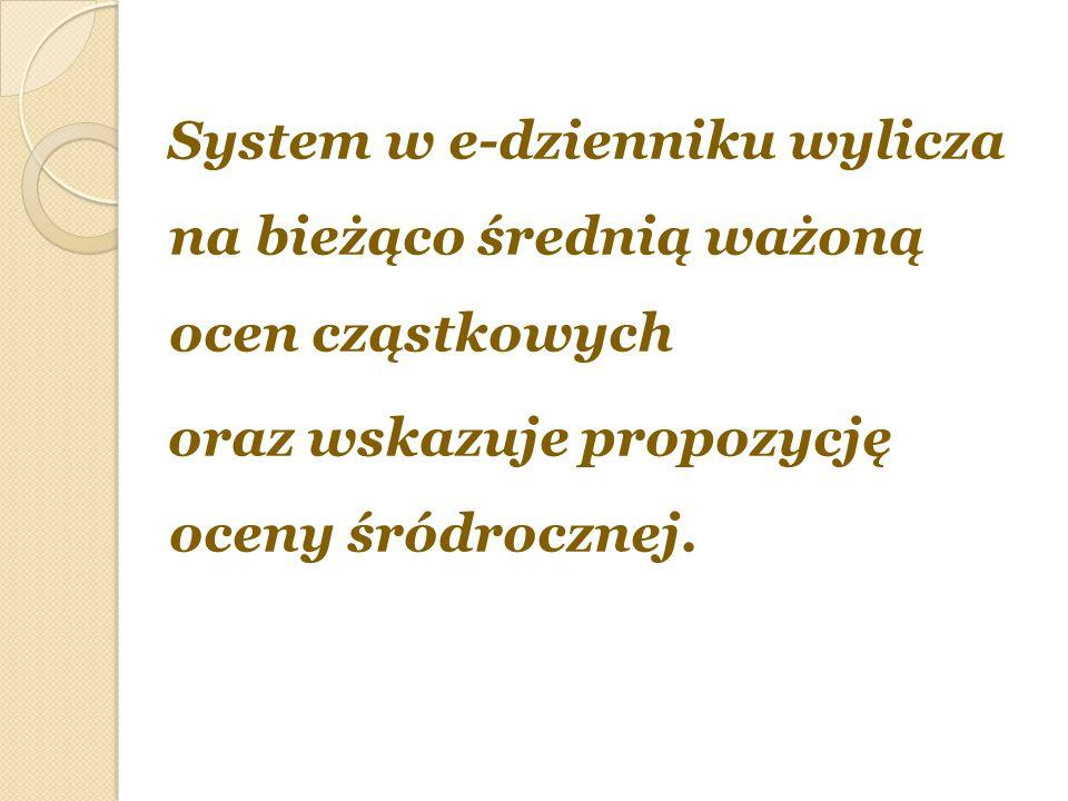 System w e-dzienniku wylicza na bieżąco średnią ważoną ocen cząstkowych oraz wskazuje propozycję oceny śródrocznej.