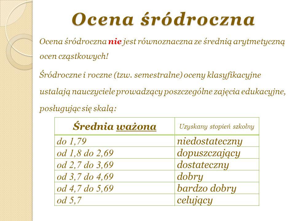 Ocena śródroczna Ocena śródroczna nie jest równoznaczna ze średnią arytmetyczną ocen cząstkowych! Śródroczne i roczne (tzw. semestralne) oceny klasyfi