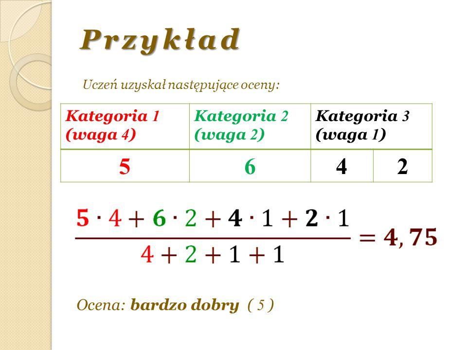 Przykład Uczeń uzyskał następujące oceny: Kategoria 1 (waga 4 ) Kategoria 2 (waga 2 ) Kategoria 3 (waga 1 ) 5642 Ocena: bardzo dobry ( 5 )