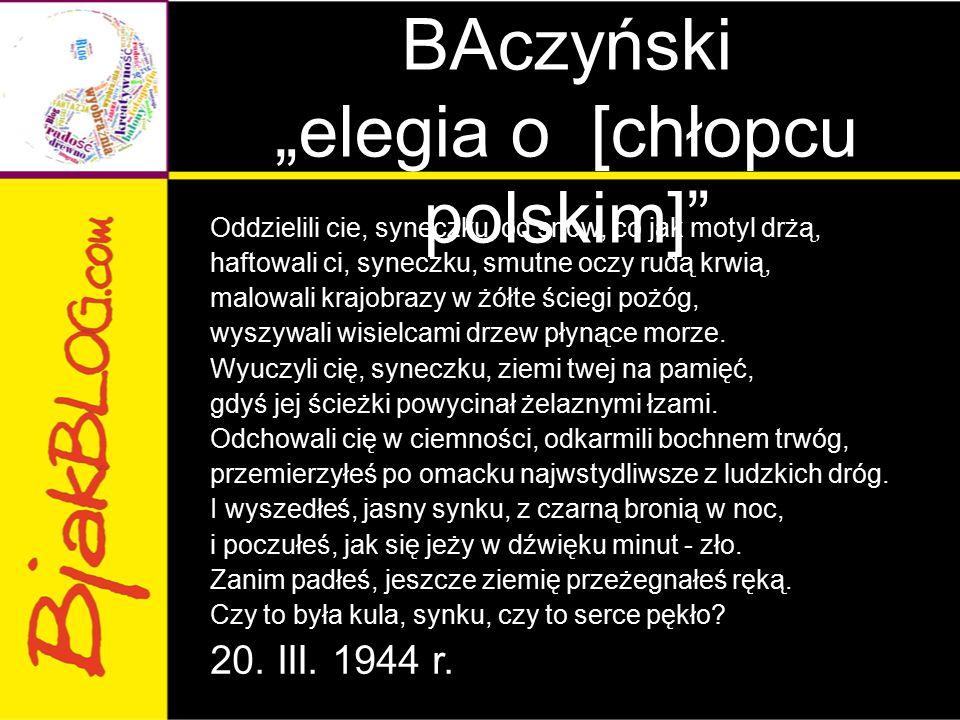 """Krzysztof Kamil BAczyński """"elegia o [chłopcu polskim]"""" Oddzielili cie, syneczku, od snów, co jak motyl drżą, haftowali ci, syneczku, smutne oczy rudą"""