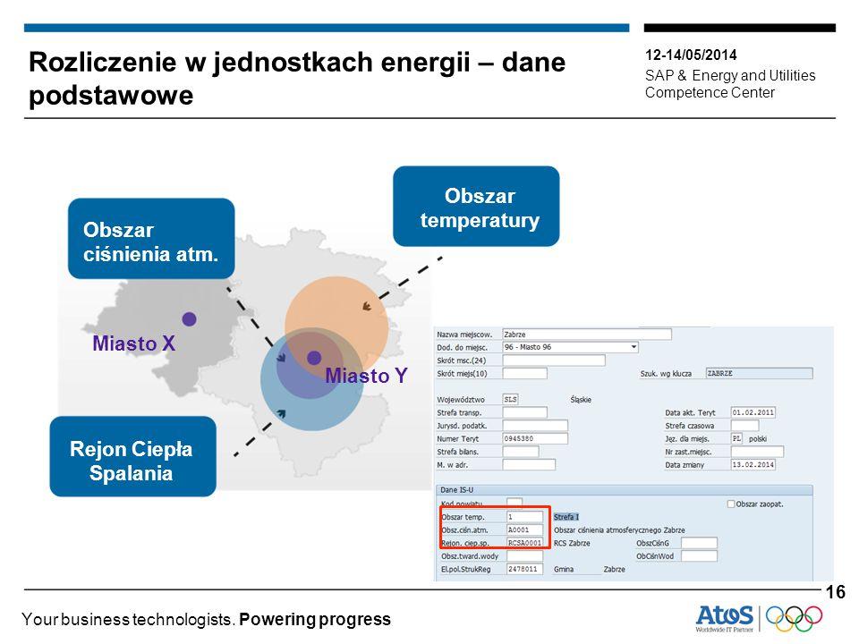 12-14/05/2014 SAP & Energy and Utilities Competence Center Your business technologists. Powering progress Rozliczenie w jednostkach energii – dane pod