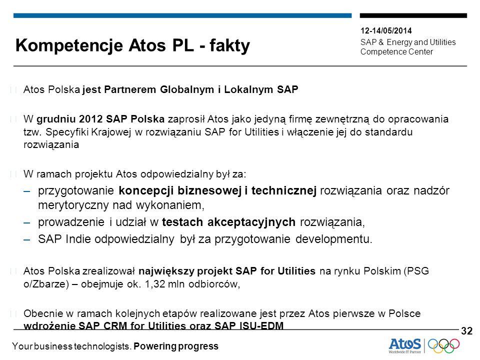 12-14/05/2014 SAP & Energy and Utilities Competence Center Your business technologists. Powering progress Kompetencje Atos PL - fakty ▶ Atos Polska je