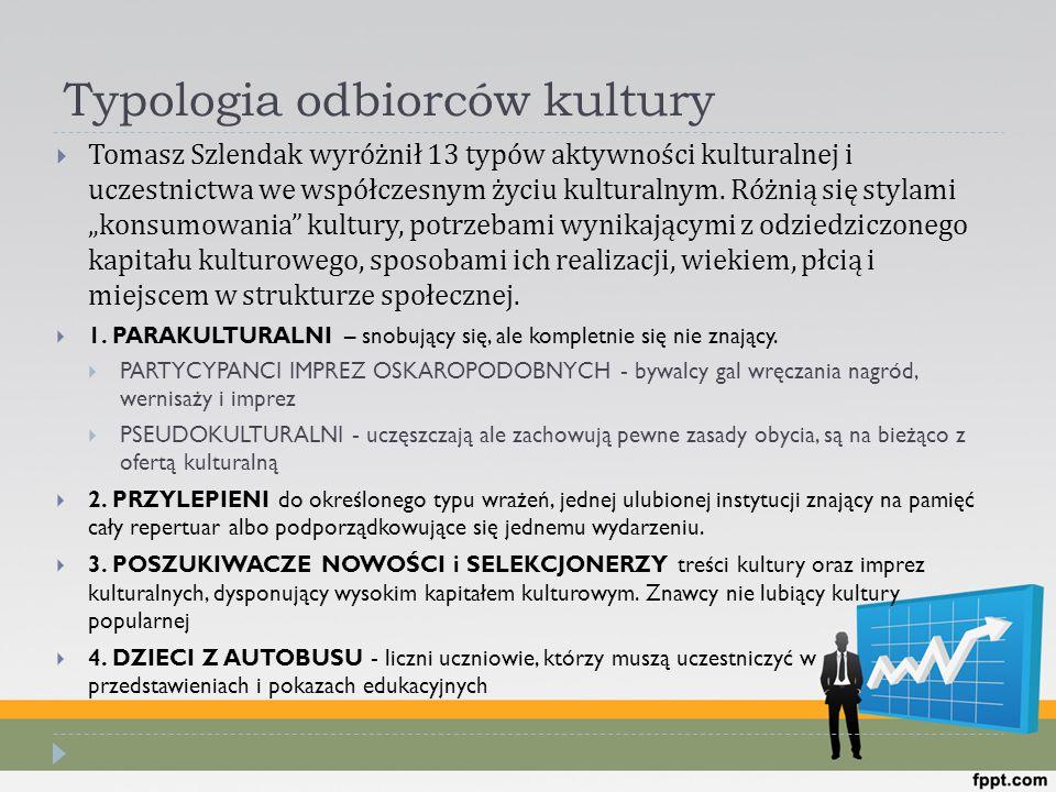 Typologia odbiorców kultury  Tomasz Szlendak wyróżnił 13 typów aktywności kulturalnej i uczestnictwa we współczesnym życiu kulturalnym. Różnią się st