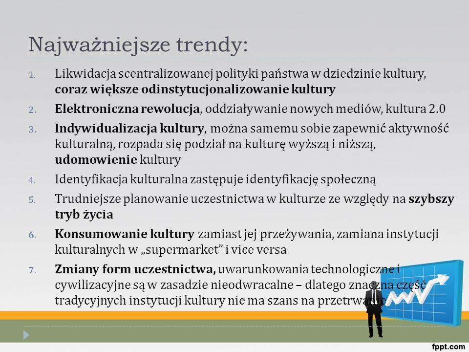 Najważniejsze trendy: 1. Likwidacja scentralizowanej polityki państwa w dziedzinie kultury, coraz większe odinstytucjonalizowanie kultury 2. Elektroni