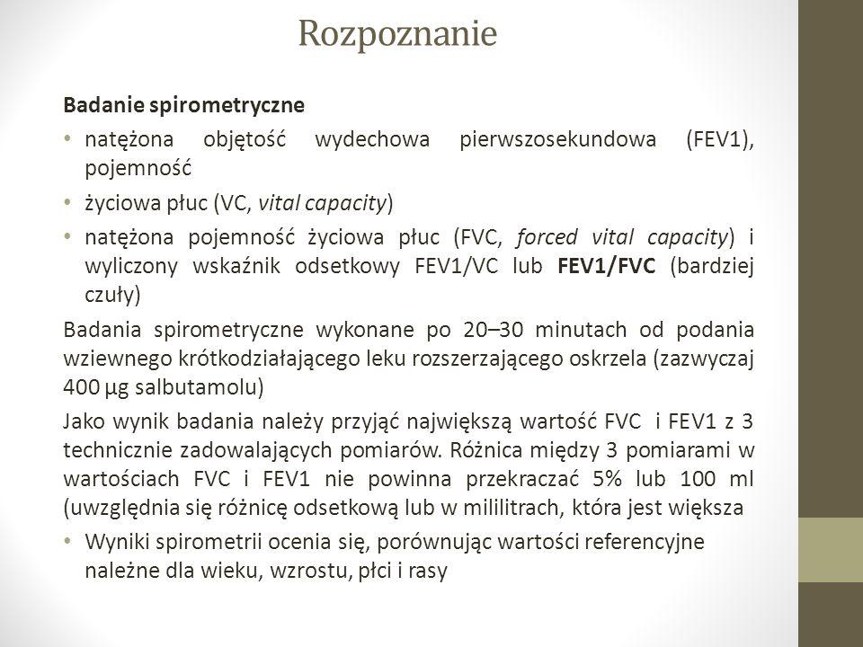 Rozpoznanie Badanie spirometryczne natężona objętość wydechowa pierwszosekundowa (FEV1), pojemność życiowa płuc (VC, vital capacity) natężona pojemność życiowa płuc (FVC, forced vital capacity) i wyliczony wskaźnik odsetkowy FEV1/VC lub FEV1/FVC (bardziej czuły) Badania spirometryczne wykonane po 20–30 minutach od podania wziewnego krótkodziałającego leku rozszerzającego oskrzela (zazwyczaj 400 μg salbutamolu) Jako wynik badania należy przyjąć największą wartość FVC i FEV1 z 3 technicznie zadowalających pomiarów.