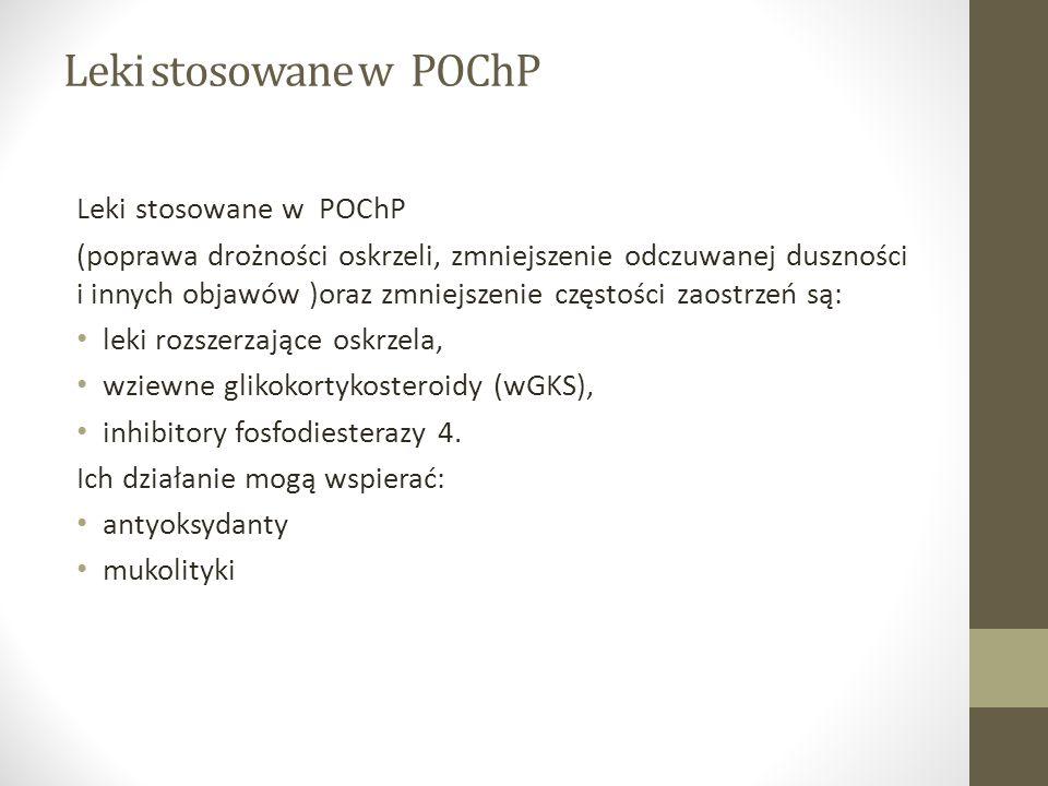 Leki stosowane w POChP (poprawa drożności oskrzeli, zmniejszenie odczuwanej duszności i innych objawów )oraz zmniejszenie częstości zaostrzeń są: leki