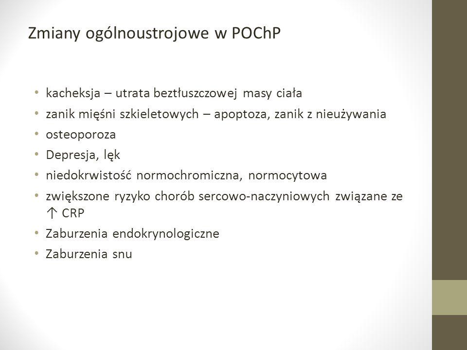 Zmiany ogólnoustrojowe w POChP kacheksja – utrata beztłuszczowej masy ciała zanik mięśni szkieletowych – apoptoza, zanik z nieużywania osteoporoza Dep