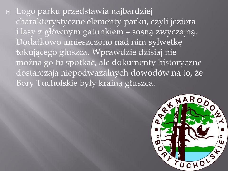  Logo parku przedstawia najbardziej charakterystyczne elementy parku, czyli jeziora i lasy z głównym gatunkiem – sosną zwyczajną. Dodatkowo umieszczo
