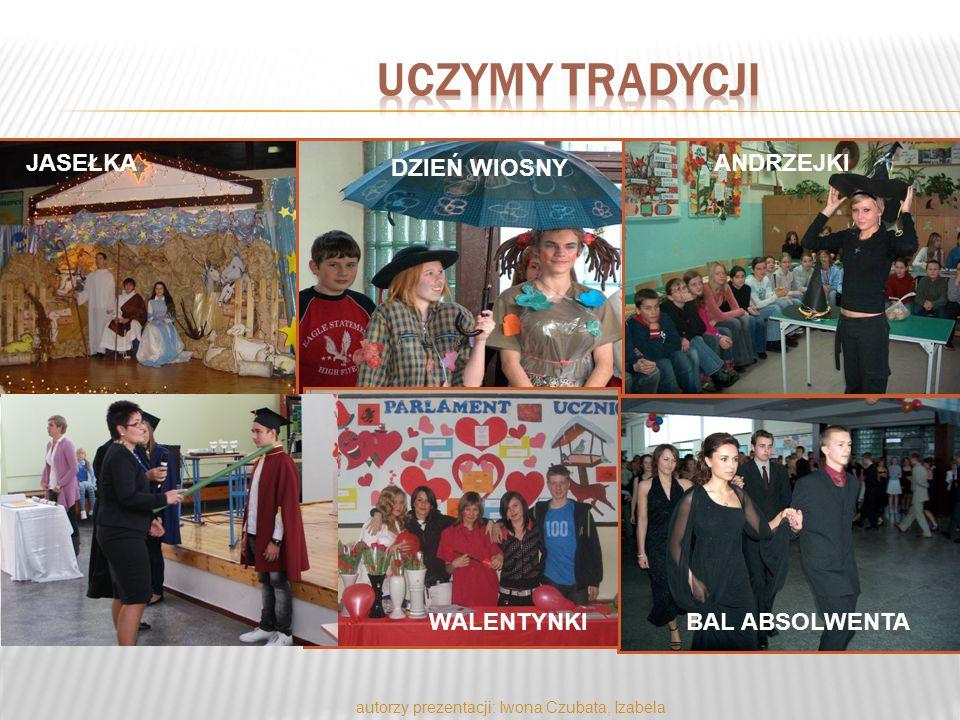 autorzy prezentacji: Iwona Czubata, Izabela Piekarek JASEŁKA DZIEŃ WIOSNY ANDRZEJKI BAL ABSOLWENTA PASOWANIE WALENTYNKI