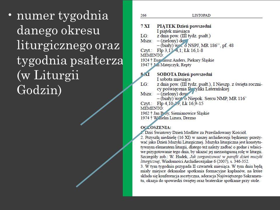 numer tygodnia danego okresu liturgicznego oraz tygodnia psałterza (w Liturgii Godzin)