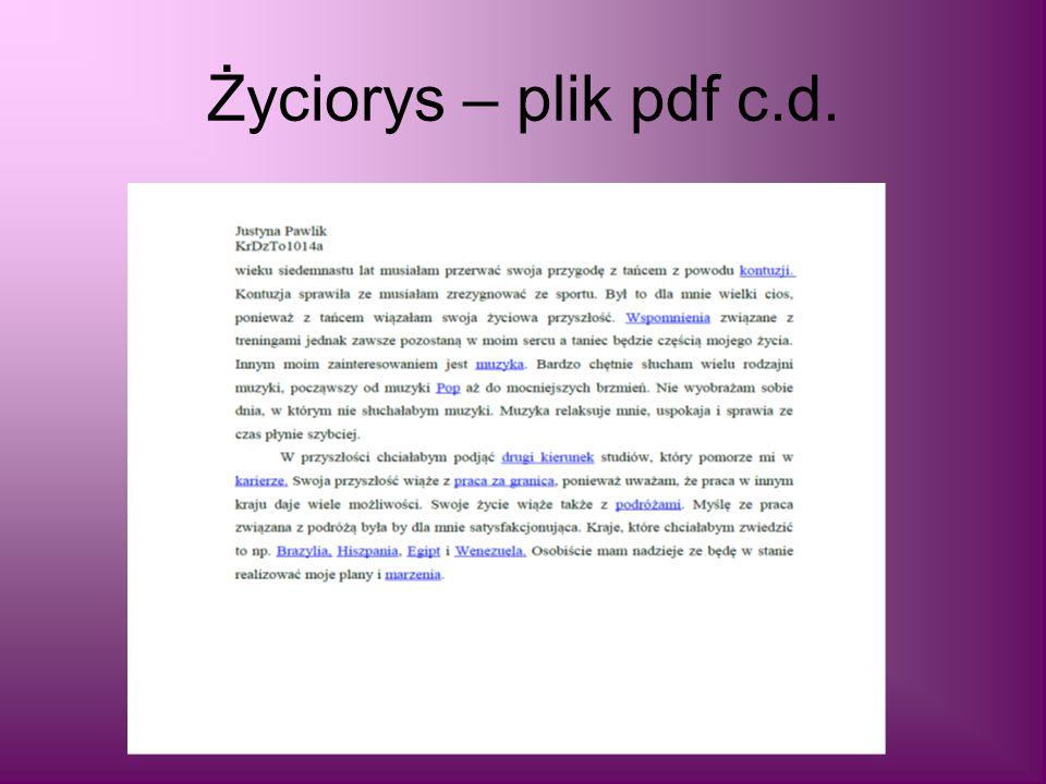 Życiorys – plik pdf c.d.