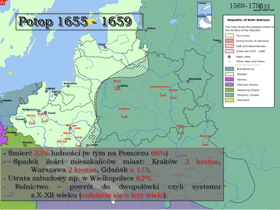 Potop 1655 - 1659 - - Śmierć 33% ludności (w tym na Pomorzu 66%) - Spadek ilości mieszkańców miast: Kraków 3 krotne, Warszawa 2 krotne, Gdańsk o 1/3.