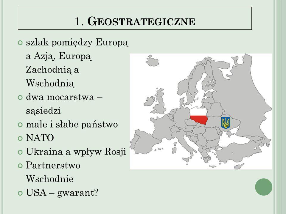 1. G EOSTRATEGICZNE szlak pomiędzy Europą a Azją, Europą Zachodnią a Wschodnią dwa mocarstwa – sąsiedzi małe i słabe państwo NATO Ukraina a wpływ Rosj