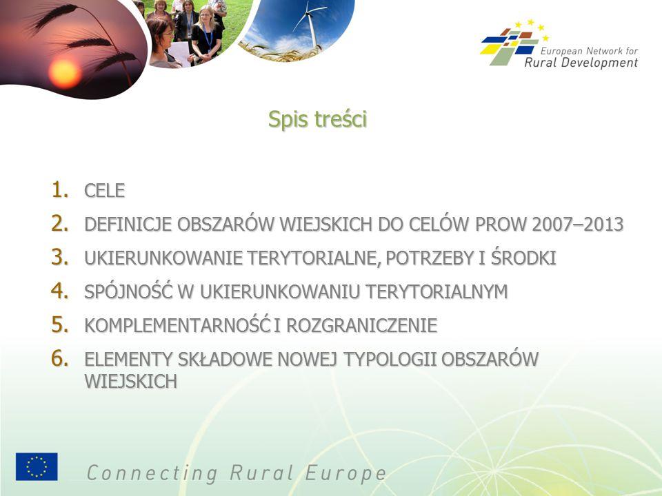 1. CELE 2. DEFINICJE OBSZARÓW WIEJSKICH DO CELÓW PROW 2007–2013 3.