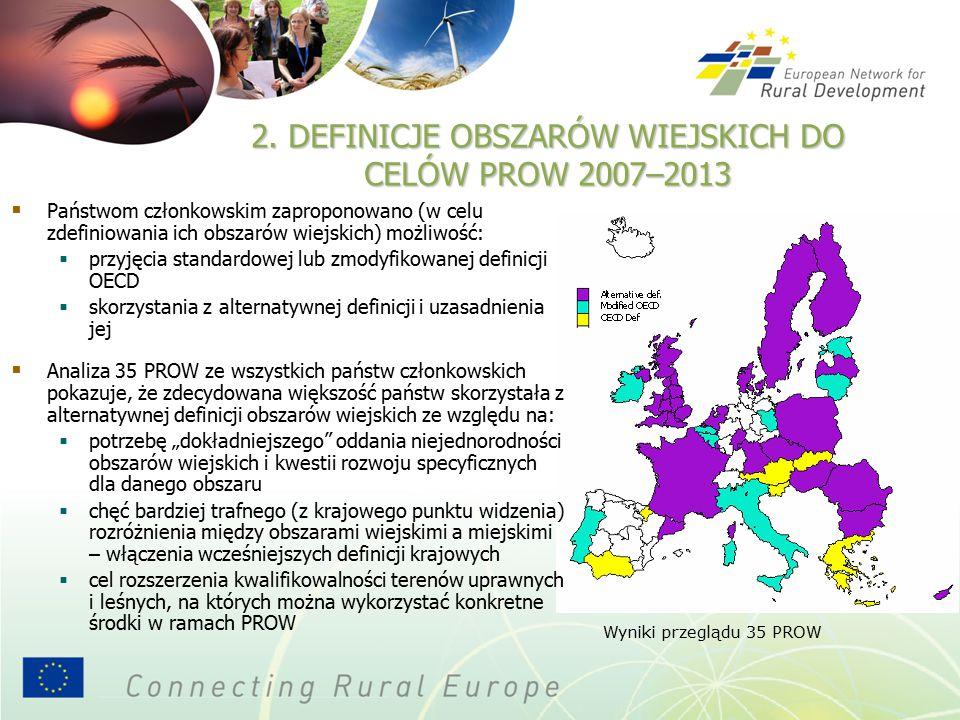 """ Państwom członkowskim zaproponowano (w celu zdefiniowania ich obszarów wiejskich) możliwość:  przyjęcia standardowej lub zmodyfikowanej definicji OECD  skorzystania z alternatywnej definicji i uzasadnienia jej  Analiza 35 PROW ze wszystkich państw członkowskich pokazuje, że zdecydowana większość państw skorzystała z alternatywnej definicji obszarów wiejskich ze względu na:  potrzebę """"dokładniejszego oddania niejednorodności obszarów wiejskich i kwestii rozwoju specyficznych dla danego obszaru  chęć bardziej trafnego (z krajowego punktu widzenia) rozróżnienia między obszarami wiejskimi a miejskimi – włączenia wcześniejszych definicji krajowych  cel rozszerzenia kwalifikowalności terenów uprawnych i leśnych, na których można wykorzystać konkretne środki w ramach PROW Wyniki przeglądu 35 PROW 2."""