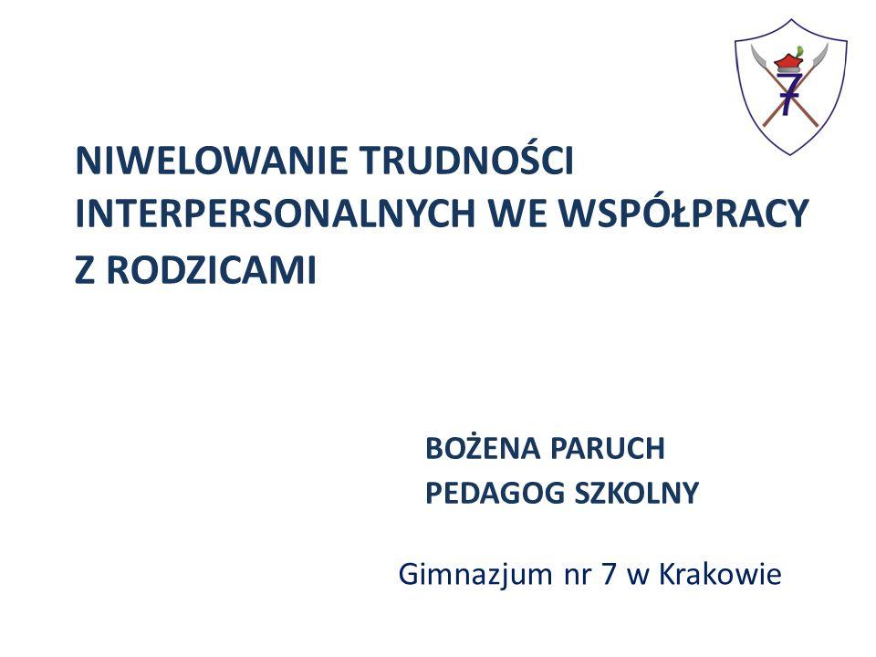 NIWELOWANIE TRUDNOŚCI INTERPERSONALNYCH WE WSPÓŁPRACY Z RODZICAMI BOŻENA PARUCH PEDAGOG SZKOLNY Gimnazjum nr 7 w Krakowie