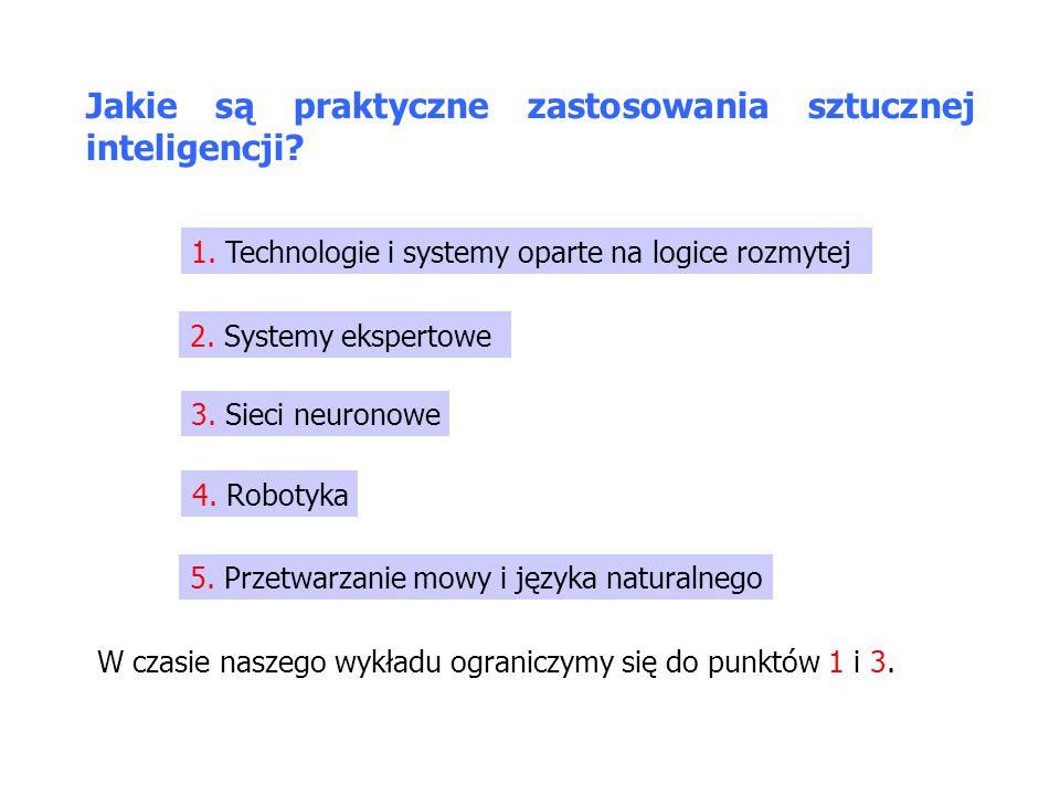 Jakie są praktyczne zastosowania sztucznej inteligencji? 1. Technologie i systemy oparte na logice rozmytej 2. Systemy ekspertowe 3. Sieci neuronowe 4
