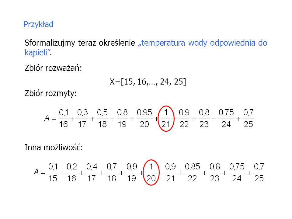 """Przykład Sformalizujmy teraz określenie """"temperatura wody odpowiednia do kąpieli"""". Zbiór rozważań: X=[15, 16,…, 24, 25] Zbiór rozmyty: Inna możliwość:"""