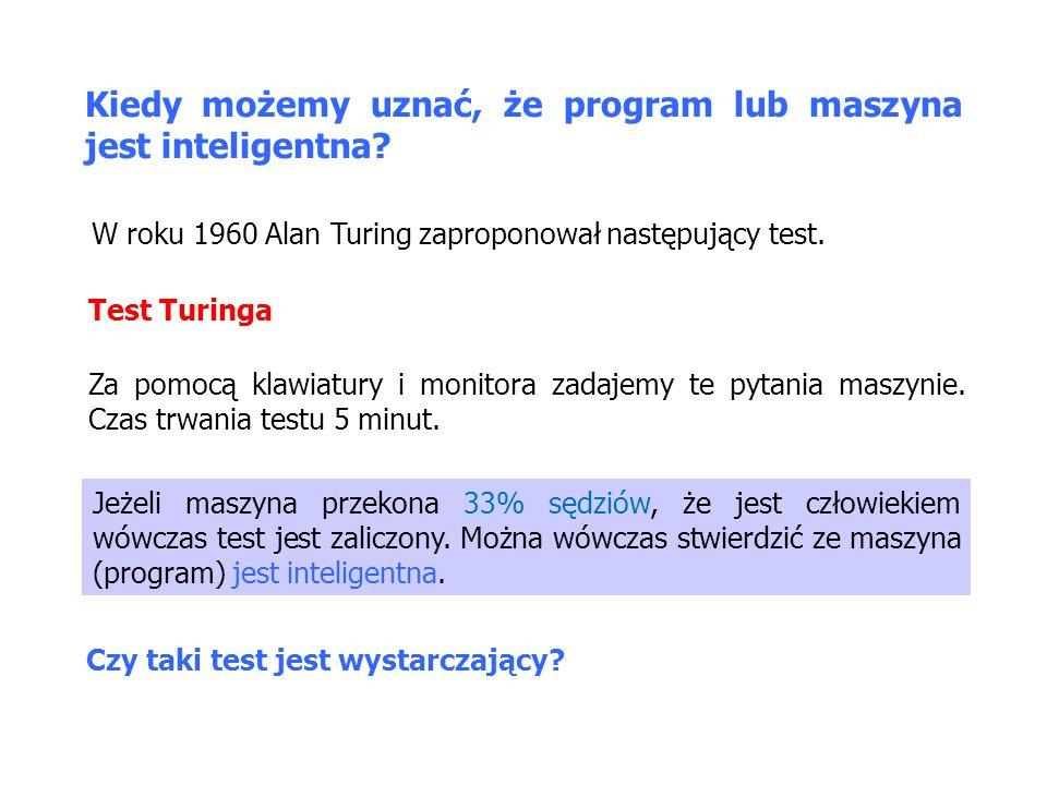 Kiedy możemy uznać, że program lub maszyna jest inteligentna.