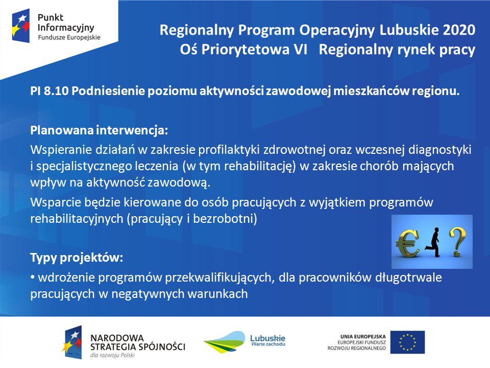 Regionalny Program Operacyjny Lubuskie 2020 Oś Priorytetowa VI Regionalny rynek pracy PI 8.10 Podniesienie poziomu aktywności zawodowej mieszkańców regionu.