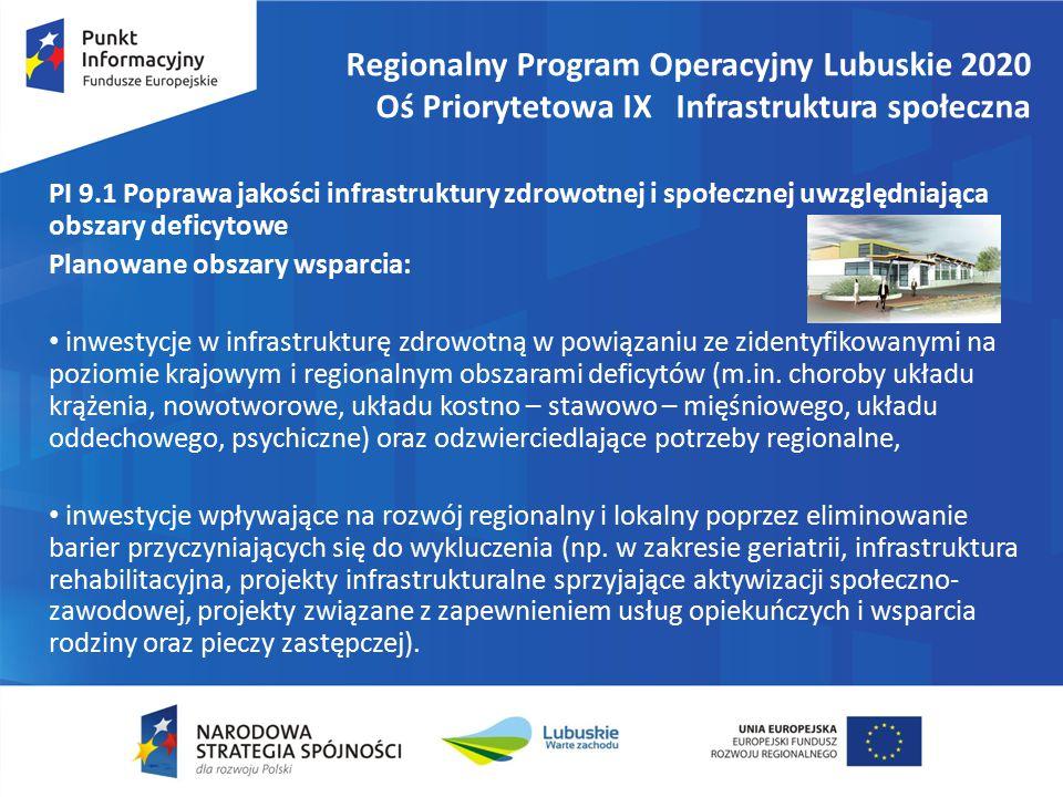 Regionalny Program Operacyjny Lubuskie 2020 Oś Priorytetowa IX Infrastruktura społeczna PI 9.1 Poprawa jakości infrastruktury zdrowotnej i społecznej uwzględniająca obszary deficytowe Planowane obszary wsparcia: inwestycje w infrastrukturę zdrowotną w powiązaniu ze zidentyfikowanymi na poziomie krajowym i regionalnym obszarami deficytów (m.in.
