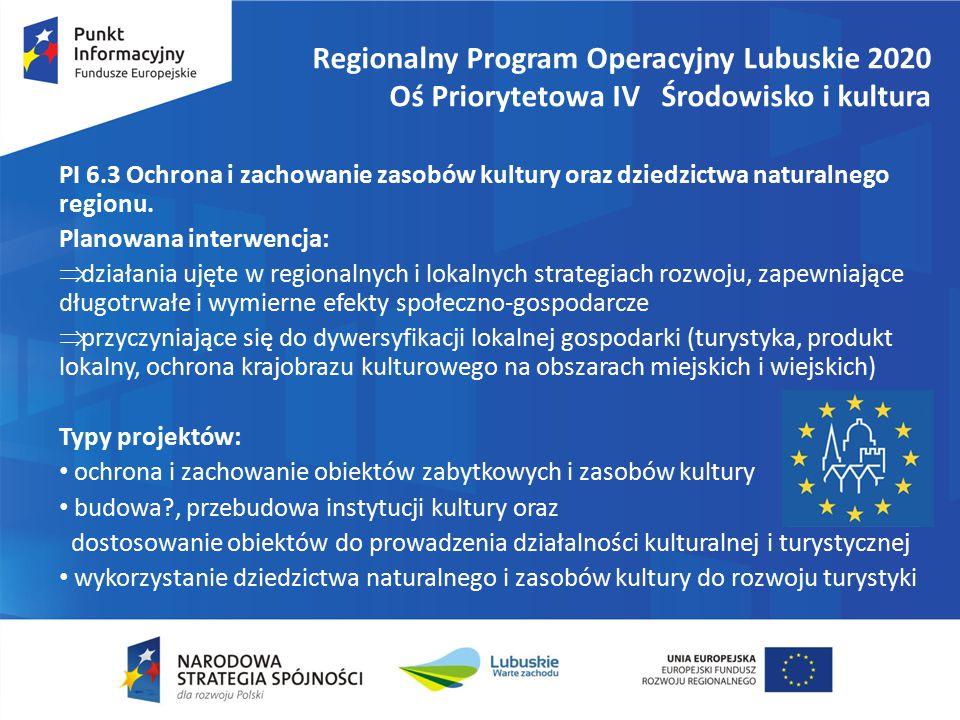 Regionalny Program Operacyjny Lubuskie 2020 Oś Priorytetowa IV Środowisko i kultura PI 6.3 Ochrona i zachowanie zasobów kultury oraz dziedzictwa naturalnego regionu.